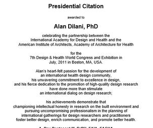 American Institute of Architect  AIA Awards to Alan for his leadership